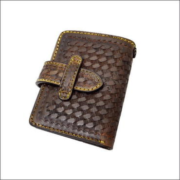 牛革バスケットクラフト二つ折ウォレット(財布)ブラック 10000620