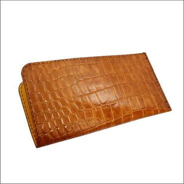 財布 メンズ お札入れ レザー ロングウォレット 薄マチ札入れ BROWN クロコダイル型押し牛革 10007862
