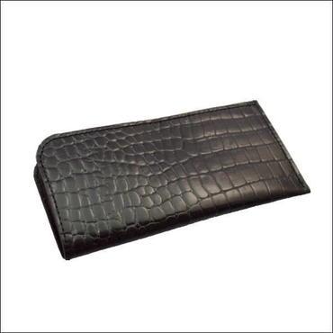 財布 メンズ お札入れ レザー ロングウォレット 薄マチ札入れ BLACK クロコダイル型押し牛革 10008015