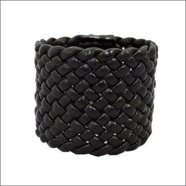 レザー メッシュ ブレス ブラック 5.3mm幅 牛革ブレス レザーリストバンド 10008001