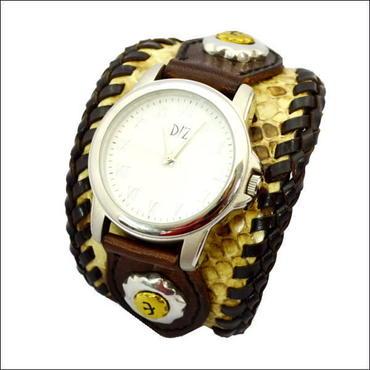 ダイヤモンドパイソン(ニシキヘビ革)×牛革(レザー) シルバー×真鍮コンチョ腕時計(リストウォッチ)WH 10004956