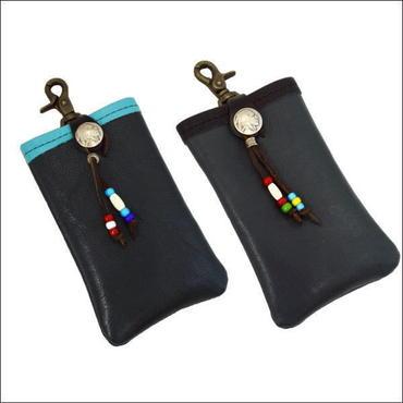 レザー i-phone6 plus ケース (携帯ホルダー) コンチョ付き ネイビーグリーン 10007258