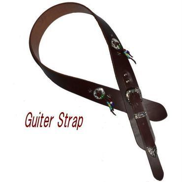 ギターストラップ オールレザー 本革 牛革 ウエスタンコンチョ