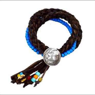 2重まき 鹿革 ビーズ ブレス  インディアンホワイトハーツ ビーズ ハンドメイド  10008041
