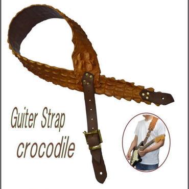 ギターストラップ オールレザー 本革 クロコダイル ワニ革 1匹