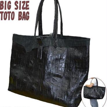 レザートートバッグ 牛革 ブラック 超特大 デカトート トラベル 18081001