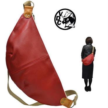 レザー ショルダーバッグ 三日月型 斜め掛け 胃袋ショルダー 牛革 RED 18120701