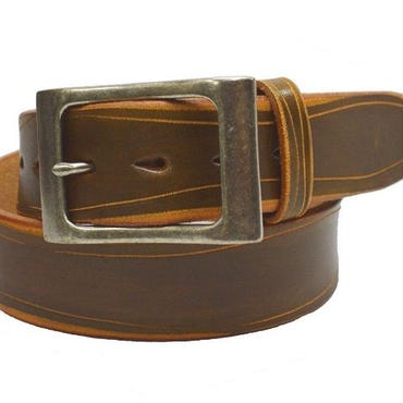 ヌメ革 ベルト 厚口 デザインベルト ハンドクラフト 40mm幅 18081002