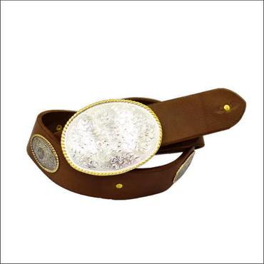ベルト 本革 メンズ オーバルバックル レザーベルトセット レディース BROWN 10007865