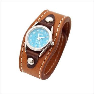 レザーリストウォッチ 牛革 腕時計 キャメル 10006652