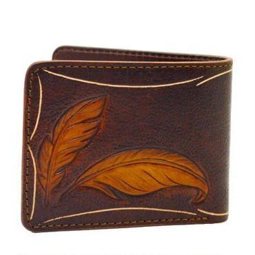 フェザーカービングクラフト レザーウォレット(二つ折財布)アンティークブラウン 10005513