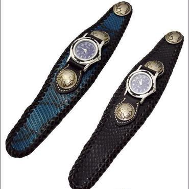 ダイヤモンドパイソン(ニシキ蛇) 天然石ラピスラズリ文字盤!腕時計 ブラック ブルー 10003169