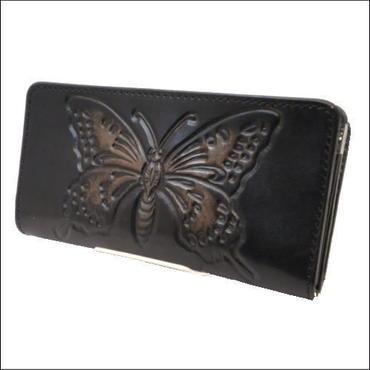 財布 メンズ 長財布 レザー バタフライ(蝶々)モチーフカービングクラフトウォレット 10004682