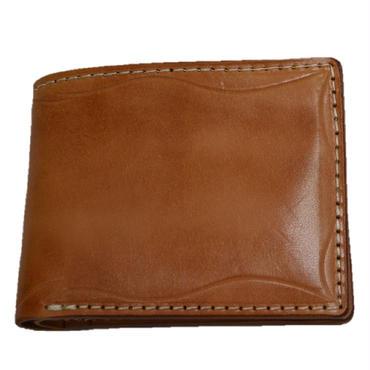 ヌメ革 2つ折り財布 カービング ショートウォレット 焦がしレザー 牛革 18032601