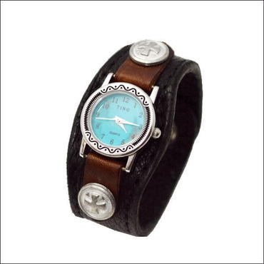 エルクスキン レザーリストウォッチ 鹿革 牛革 腕時計 ブラック 10006667