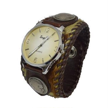 腕時計 メンズ リストウォッチ ホルスタイン柄 ハラコ 毛皮 ビッグフェイス 19021501