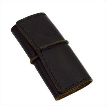 牛革(レザー) 三つ折りキーケース オリジナルハンドメイド シンプル BLACK 10007693