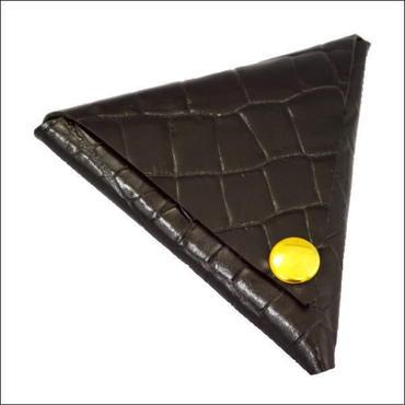 コインケース メンズ レディース 本革  牛革 デルタレザーコインケース 日本製 クロコダイル型押し ブラック  10007790