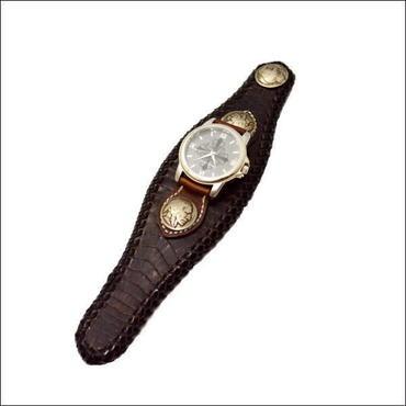 カイマンワニ革 腕時計 ブラウン 10003734