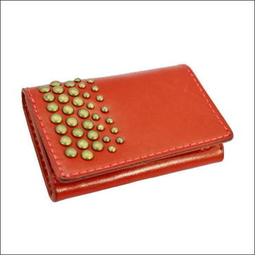 丸鋲スタッズ オイルレザー カードケース RED 10007955