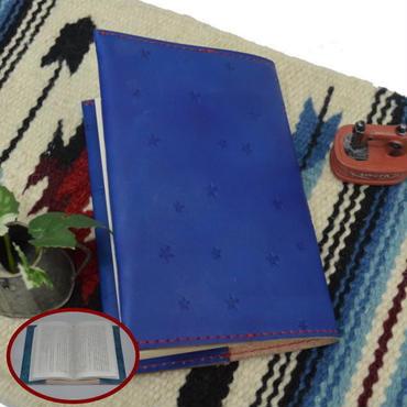 ブックカバー 文庫本サイズ 牛革 コバルトブルー 星スタンプ A6判 18063002