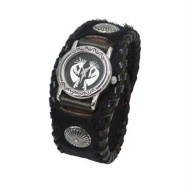 腕時計 メンズ レディース リストウォッチ レザー ハラコ BLACK ココペリフェイス 19021101
