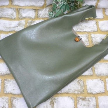 牛革トートバッグ レザートートバッグ レジ袋の形 若草色 18042202
