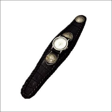 カイマンワニ革 腕時計 ブラック 10006660
