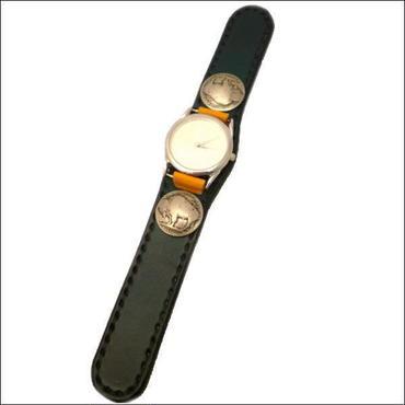 グリーン×オレンジ レザーリストウォッチ(牛革腕時計)10004533