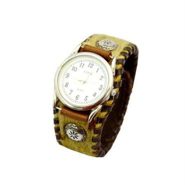 腕時計  馬革ハラコ リストウォッチ 茶 10008022