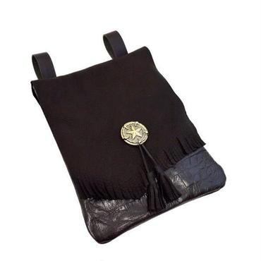 鹿革 フラップ 牛革クロコダイル型押し メディスンバッグ ブラック メディシンバッグ メンズ レディース シンプル 10007125