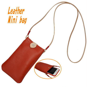 携帯ホルダー 牛革 ポシェット スマホショルダー i-phone7plus RED 18092602