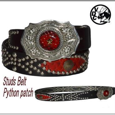 スタッズベルト メンズ 本革 ヘビ革パッチ RED 18062101
