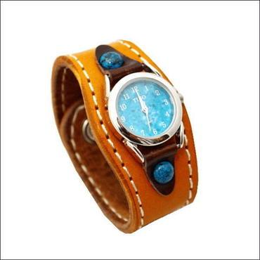 レザーリストウォッチ 牛革 腕時計 キャメル B  10006820