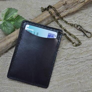 パスケース 牛革 本革 革 レザー チェーン付き BLACK 18103103