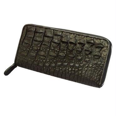 クロコダイル(カイマンワニ革)ラウンドファスナー レザーウォレット(長財布) ブラック 10007048