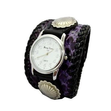 ダイヤモンドパイソン 腕時計  蛇革リストウォッチ パープル 10008021