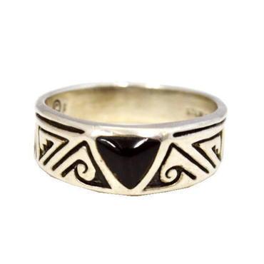 オニキス 指輪 シルバー925 オニキスリング H ネイティブ柄 10007216