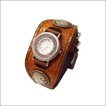 ウォータースネイク(水蛇) 腕時計 (リストウォッチ)茶色 10002462