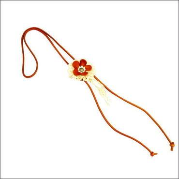 オリジナルハンドメイド 花モチーフ レザーループタイ(ネックレス)B 10007854