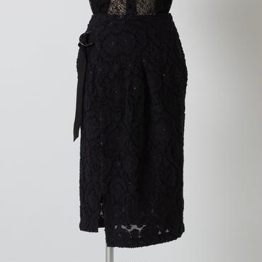 フラワージャガードスカート(ブラック)