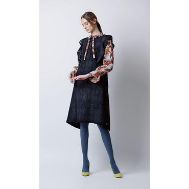 フラワージャガードドレス(ブラック)