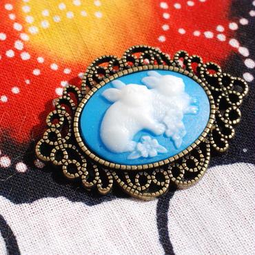 仲良しウサギの帯留(青)