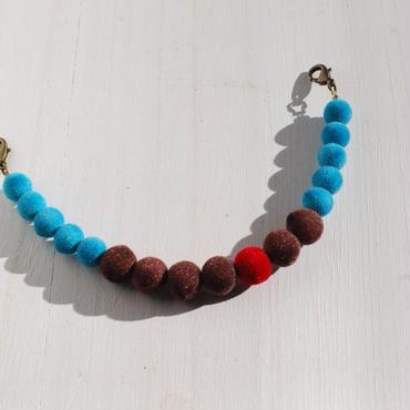 ベロア羽織紐(茶×水色)