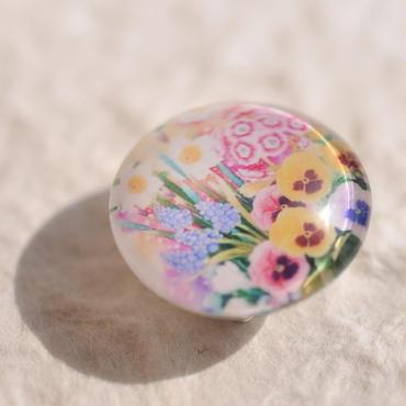 ガラスドームの帯留(お花畑)