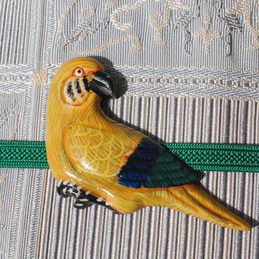 南国の鳥の帯留(黄色)