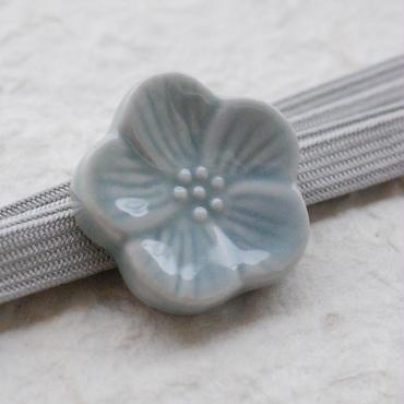 陶器のお花の帯留(ブルーグレー)