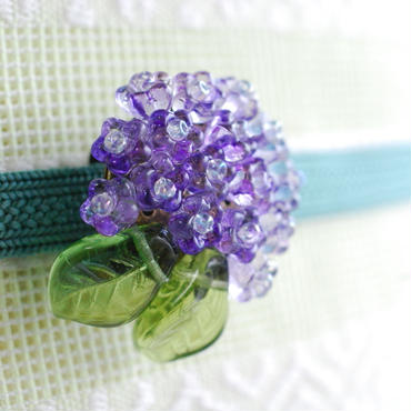 紫陽花の帯留(パープル)