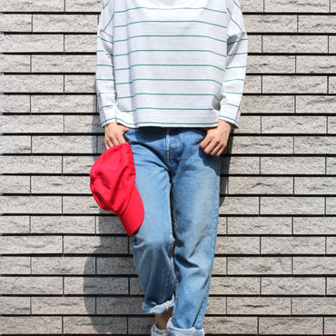 <70-85301>30/-x2 PITCH STRIPE BOAT NECK TEE  S/SLEEVES (WOMEN)