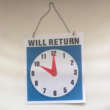 OPEN  WILL RETURN クロックプレートサイン